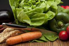 Fresh vegetable with knife Royalty Free Stock Photo