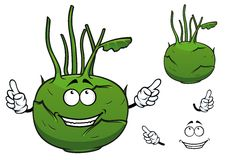 Fresh vegetable kohlrabi cabbage cartoon character Royalty Free Stock Images