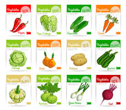 Fresh vegetable label, banner and tag set design. Vegetable label and tag set. Farm fresh carrot, pepper, onion, beet, cabbage, potato, zucchini, cucumber royalty free illustration