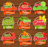 Fresh vegetable labels. Fresh tomato and pumpkin, pepper, peas, cabbage, carrot, sweet corn, logo lettering typography food label or sticker. Concept for Stock Photo
