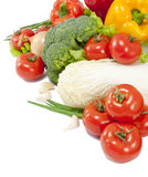 Fresh vegetable with leaves isolated over white Stock Photos