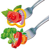 Fresh vegetable mix on fork Stock Image