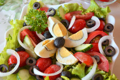Fresh Vegetable Mixed Summer Salad With Eggs Royalty Free Stock Images