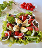 Fresh Vegetable Mixed Summer Salad With Eggs Stock Photos