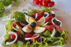 Fresh Vegetable Mixed Summer Salad With Eggs Royalty Free Stock Photography