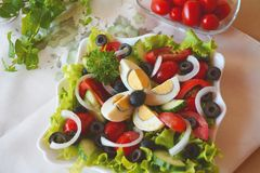 Fresh Vegetable Mixed Summer Salad With Eggs Stock Photography