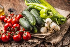 Fresh vegetable onion cucumber pepper and tomatoes on rustic oak Royalty Free Stock Image