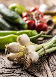 Fresh vegetable onion cucumber pepper and tomatoes on rustic oak Royalty Free Stock Photos