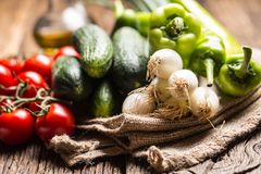 Fresh vegetable onion cucumber pepper and tomatoes on rustic oak Stock Image