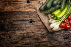 Fresh vegetable onion cucumber pepper and tomatoes on rustic oak Royalty Free Stock Photography