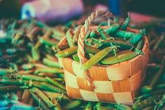 Fresh Vegetable Organic Green Beans In Wicker Stock Image