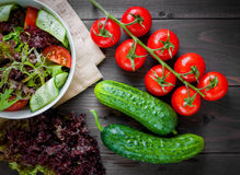 Fresh vegetable organic salad, healthy food. Fresh vegetable salad,healthy food, organic cucumbers, tomatoes and salad leaves Royalty Free Stock Image