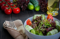Fresh vegetable organic salad, healthy food. Fresh vegetable salad,healthy food, organic cucumbers, tomatoes and salad leaves Royalty Free Stock Photos