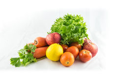 Fresh vegetable. A photo of vegetable that has a lemon,tomatoes,carrots,lettuce,apples Stock Photo
