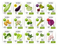 Fresh vegetable price label and tag set design Royalty Free Stock Photos