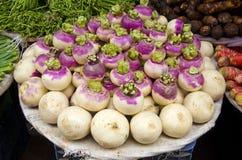 Fresh radish in street market, Delhi,India Stock Photos