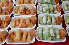 Fresh Vegetable Rice Sheet Roll or Spring rolls with vegetables Royalty Free Stock Photography