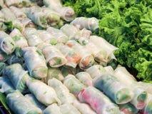 Fresh vegetable rice sheet rolls stock photos