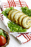 Fresh vegetable roulade. On plate Royalty Free Stock Image
