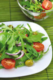 Fresh vegetable salad. Healthy vegetarian salad on a plate on a green background Royalty Free Stock Photography