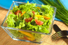 Fresh Vegetable Salad. Made of tomato, broccoli, corn, yellow bell pepper and lettuce (Selective Focus, Focus on the tomato and the two broccolis in the front Stock Photography