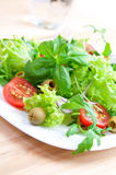 Fresh vegetable salad. Fresh salad on a white plate Royalty Free Stock Photography