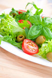 Fresh vegetable salad. Fresh salad on a white plate Stock Photos