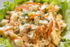 Fresh Vegetable salad. With potato, pasta, shrimps and red pepper Stock Images