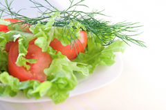 Fresh vegetable salad. Healthy food. Fresh vegetables in plate Stock Photo