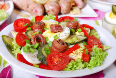 Fresh vegetable salad with anchovies for easter Stock Photography