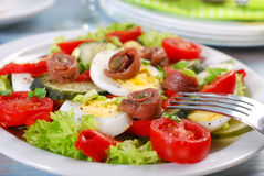 Fresh vegetable salad with anchovies for easter Stock Images