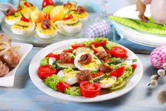 Fresh vegetable salad with anchovies for easter Stock Photo