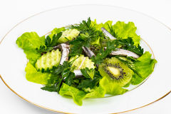 Fresh vegetable salad with anchovies. Studio Photo Stock Photo