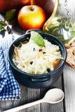 Fresh Vegetable Salad on Black Cooking Pot Royalty Free Stock Image