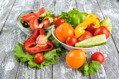 Fresh Vegetable Salad in Bowl Stock Images