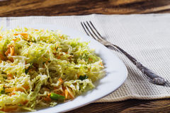 Fresh vegetable salad with cabbage, carrots, green onions and di Stock Images