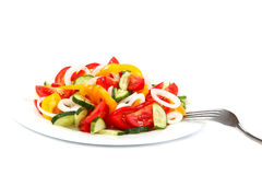 Fresh vegetable salad in a ceramic dish Stock Images