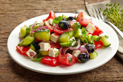 Fresh vegetable salad with cheese and olives Royalty Free Stock Image