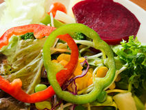 Fresh vegetable salad closeup on green bell pepper. Diet healthy and clean food concept Royalty Free Stock Images