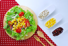 Fresh vegetable salad with corn,carrot,tomato,green oak,red oak, Stock Photography