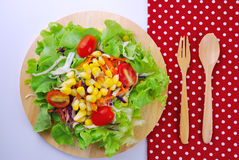 Fresh vegetable salad with corn,carrot,tomato,green oak, Royalty Free Stock Images