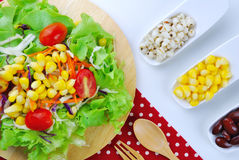 Fresh vegetable salad with corn,carrot,tomato,green oak, Stock Photo