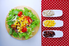 Fresh vegetable salad with corn,carrot,tomato,green oak Royalty Free Stock Photography