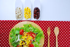 Fresh vegetable salad with corn,carrot,tomato,green oak Royalty Free Stock Images