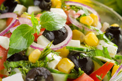 Fresh vegetable salad. With corn and feta cheese Stock Photos