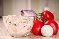 Fresh vegetable salad dressed with sour cream. Stock Photos