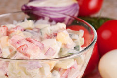 Fresh vegetable salad dressed with sour cream. Royalty Free Stock Photos