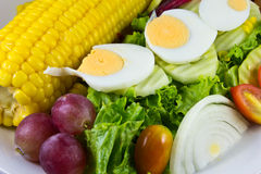 Fresh vegetable salad with egg,corn Stock Image