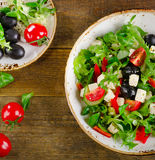 Fresh vegetable salad with feta cheese. Healthy eating. Royalty Free Stock Images