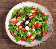 Fresh vegetable salad with feta cheese. Stock Image